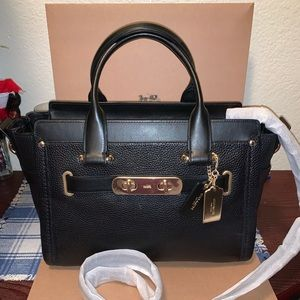 Coach women's pebbled swagger carryall
